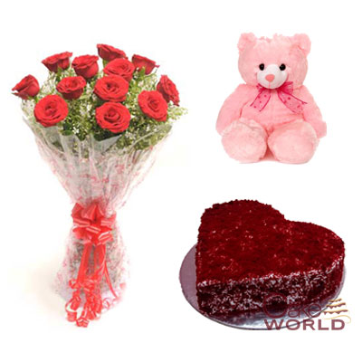 Cake, Rose Bouquet & Teddy